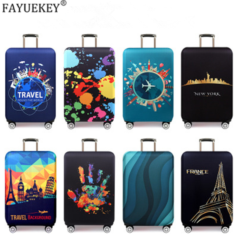 New York Paris Thicken Luggage Protective Cover 18-32inch Trolley Baggage Travel Bag Covers Elastic Protection Suitcase Case