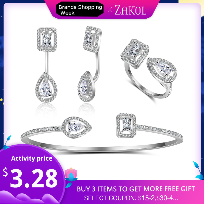 ZAKOL Bangle-Ring Jewelry-Set Cz-Stone Sparking Women Brand Fashion-Design Engagement