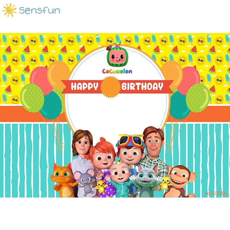 sensfun 220x150cm cartoon cocomelon backdrop boys 1st birthday party backgrounds for photo studio vinyl photocall