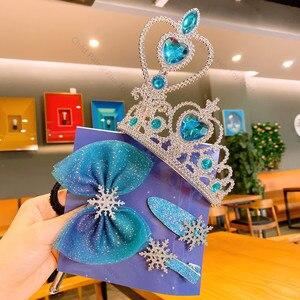 Conjunto de 2 juguetes de Frozen para niños, pinza para el pelo, tocado de princesa Elsa, horquilla, lazo, diadema de Anna, pequeña muñeca de niña, adorno, regalos de cumpleaños