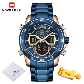NAVIFORCE Mens Military Sports Waterproof Watches Luxury Analog Quartz Digital Wrist Watch for Men Bright Backlight Gold Watches 12