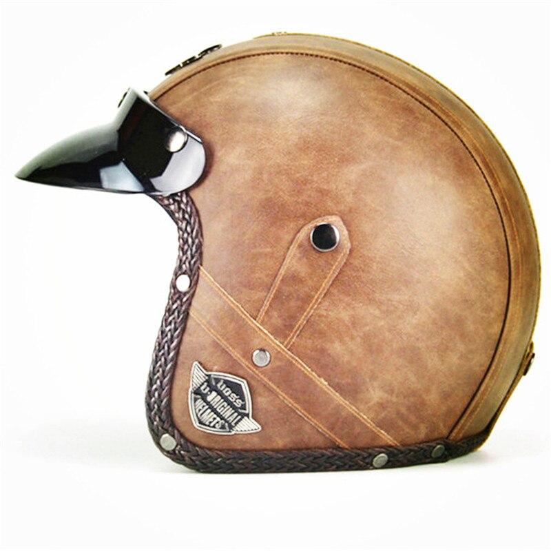 VOSS Motorcycle Helmets Open Face Half Pu Leather Helmet Vintage Motorbike Headgear|Helmets|   - AliExpress
