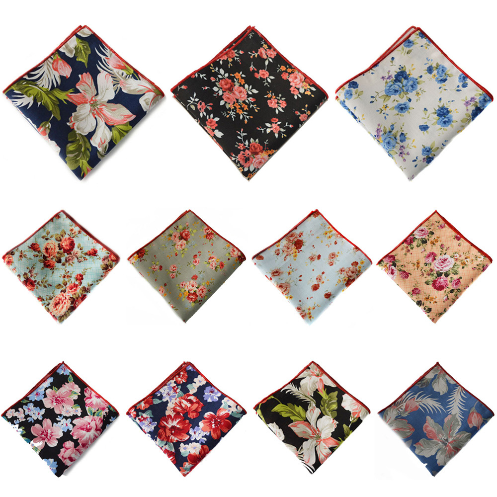 Mens Pocket Square Floral Flower Handkerchief Party Wedding Accessories Hanky