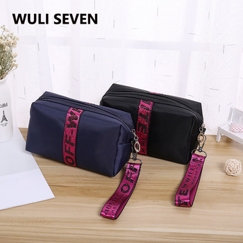 WULI SEVEN Cosmetic Organizer Bag Women Nylon Travel Alphabet Cosmetics Fashion Brand