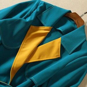 Image 5 - Vivid ブロック色パッチワーク女性の冬のコート長袖サッシベルトダブルブレストボタンレディーストレンチコート