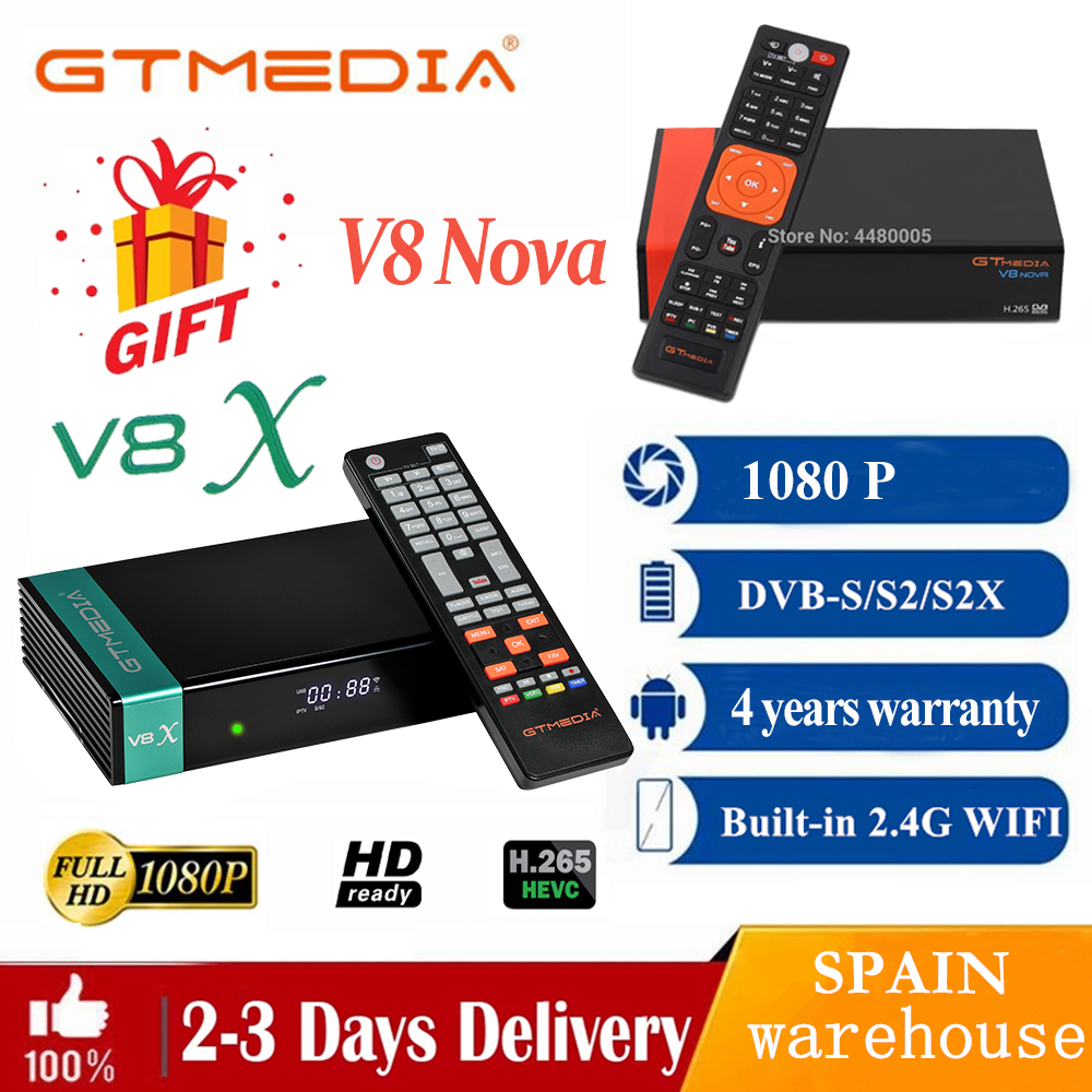 Приемник FTA gtmedia V8X 1080P, спутниковый ресивер, обновленный gtmeida V8 nova power от gtmedia V8 honor bulit-in wifi full hd H.265
