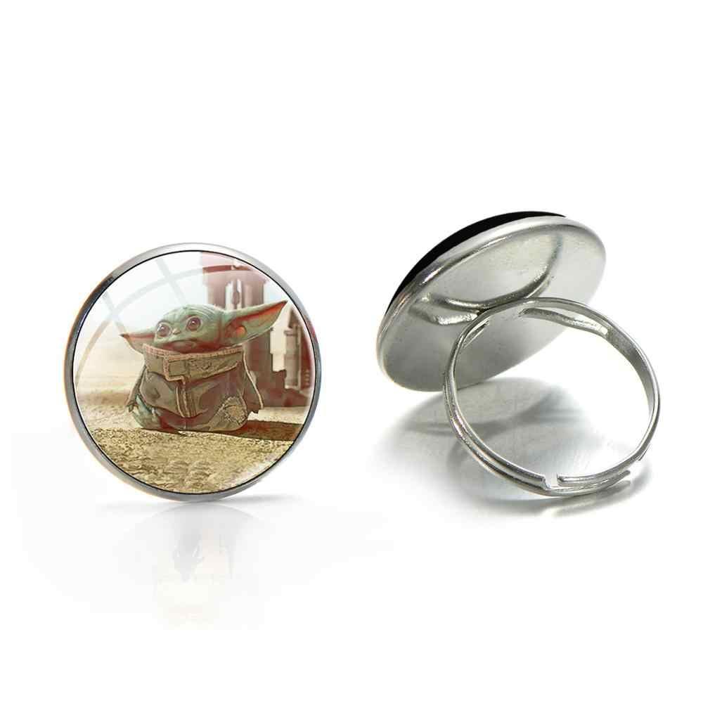 סיאן תינוק יודה זכוכית קרושון טבעת אופי סרט את Mandalorian נושא אופנה כסף ברונזה מצופה מתכוונן טבעות לילדים