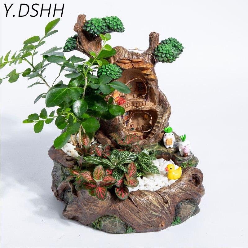 Y. DSHH комнатный цветочный горшок Дорис дерево дом Декор горшки для влагозапасающего растения балкон стол настольные украшения