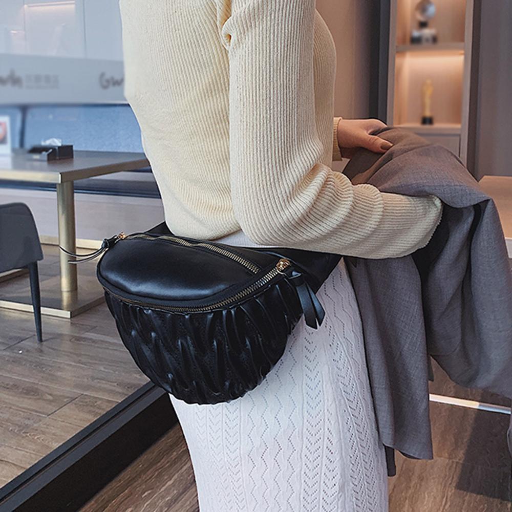 2019 Fashion Women PU Fanny Pack Zipper Messenger Chest Bag Kidney Waist Bag Belt Bag For Women Fold Banana Bag Purse A20
