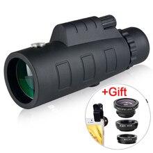 Universale 4 in 1 telefono obiettivo della fotocamera Fish Eye Lens obiettivo macro grandangolare Zoom 40X telescopio tele per smartphone telefono con treppiede