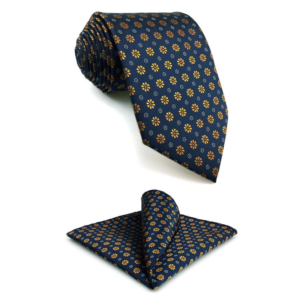 F18 Blue Gold Floral Men's Accessories Necktie Set Fashion XL Business Hanky Gift Slim 6cm Tie