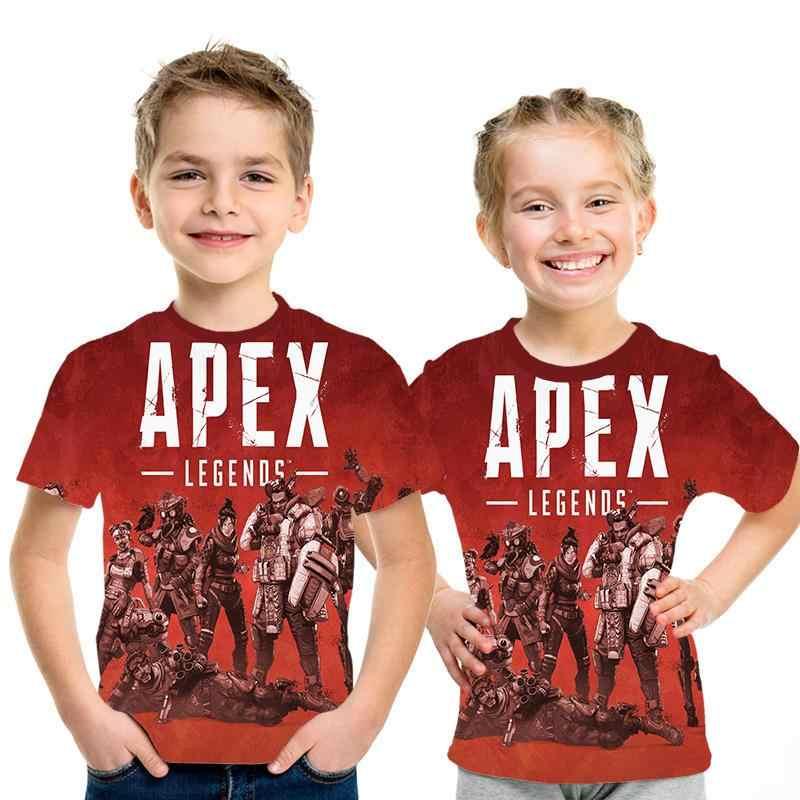 2019 yeni yaz bebek erkek tişört Apex legend 3D baskılı tişört erkek ve kız gömlek çocuk giysileri kısa kollu