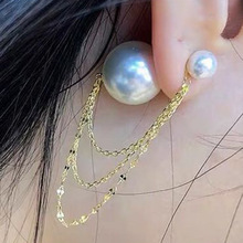 hot fashion tassel chain pearls hanging earrings  stud christmas jewelry korean