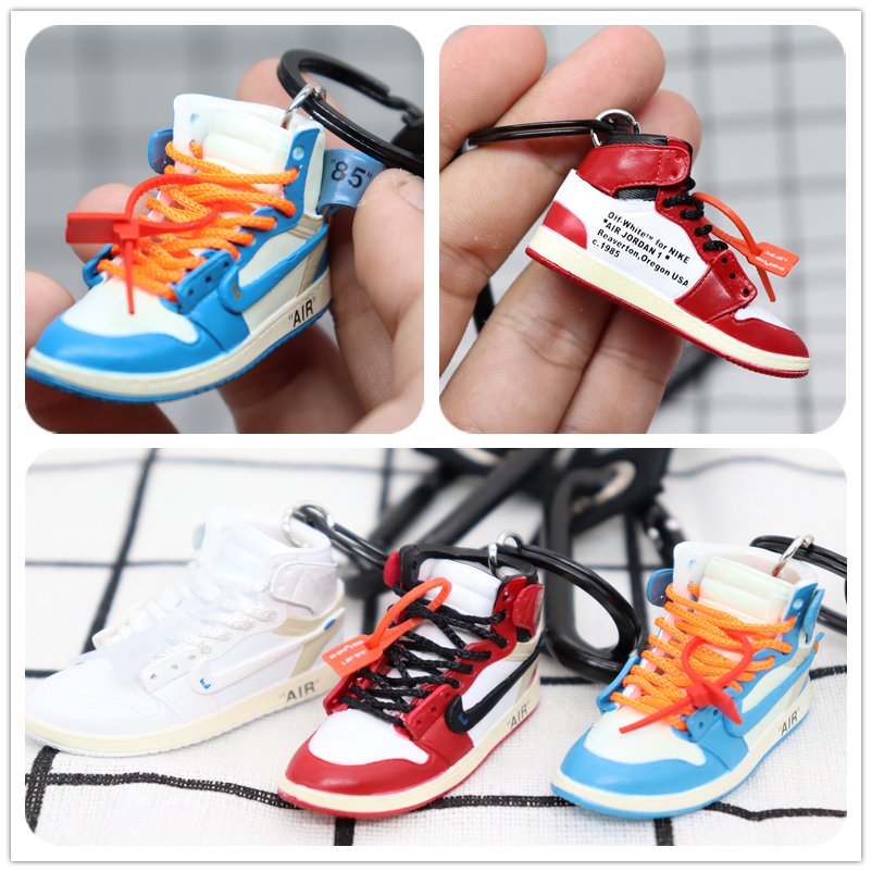 2019 New Handmade 3D AJ Key ChaiAir Mini Jordan Sneakers Model Key Chain Cute Basketball Shoes Key Ring Gift Fashion Jewelry
