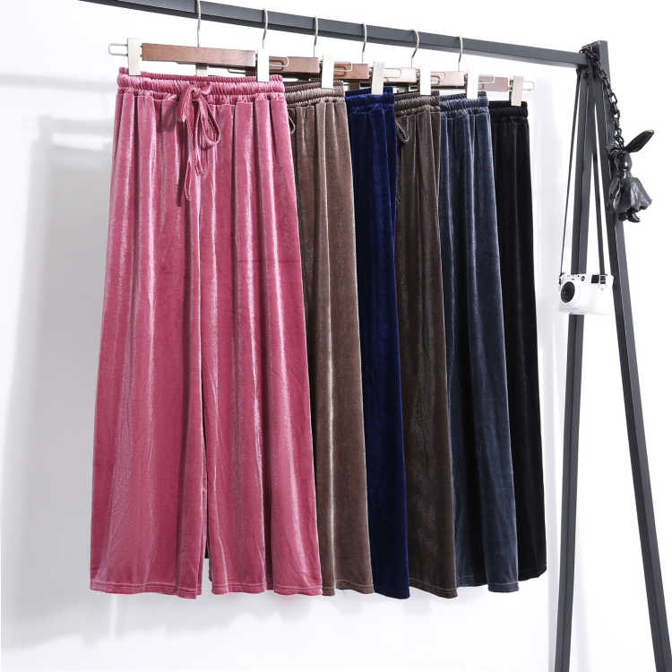 Velvet wide-legged pants fall new buds pants since han edition leisure loose waist drape pleuche trousers