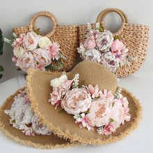 Weave Rattan Straw Holiday Casual Tote Handbag Multicolor Customized  Bohemia Style Women Summer Flower Beach Bag and Hat Suit