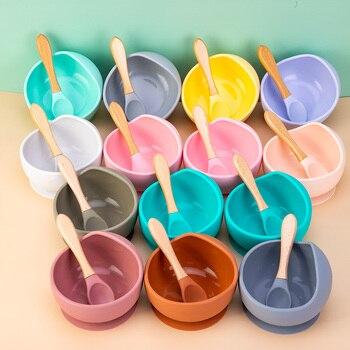 Dziecko nauka miska dla zwierząt drewniana łyżka miska zasysająca talerz dla dzieci dzieci maluch szkolenia zastawa stołowa BPA bezpłatne wysokiej jakości silikon