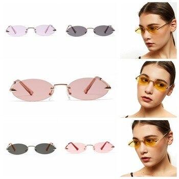 Retro Oval Sunglasses Women Frameless Gray Red Clear Lens Rimless Sun Glasses For Women Uv400