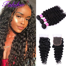 Deep Wave Bundles With Closure 5x5 Closure With Bundles Brazilian Hair Weave Human Hair 3 Bundles With Closure Remy Tahikie