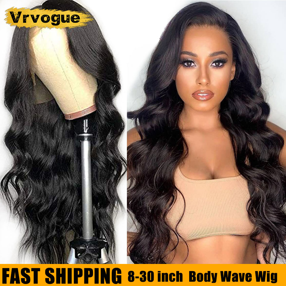Vrvogue Human Hair Wigs For Black Women 13x4 Lace Frontal Wigs Pre Plucked Peruvian Remy Body Wave Lace Closure Wigs