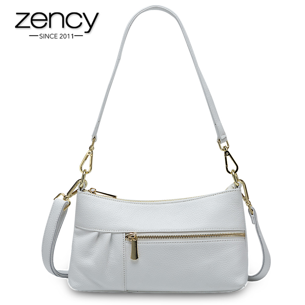 Zency Elegant Women Shoulder Bag Made Of Genuine Leather High Quality Small Flap Luxury Lady Tote Handbag Crossbody Black White