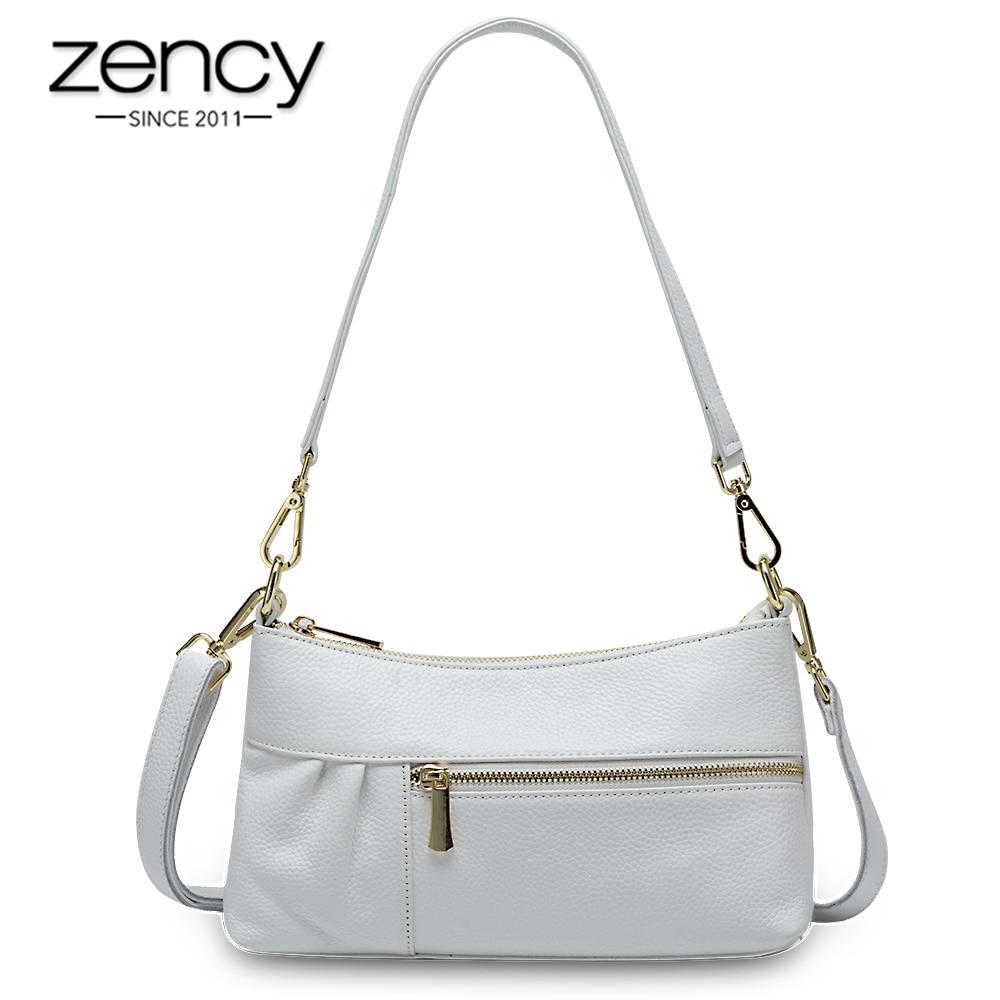 Zency Elegant Women Shoulder Bag Made Of Genuine Leather High Quality Small Flap Luxury Lady Tote Handbag Crossbody Black White