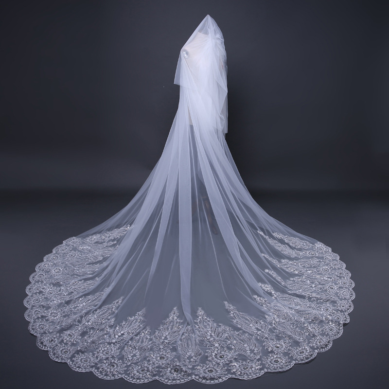 3.8*3M One Layer Appliqued Lace Sequins Long Bridal <font><b>Veil</b></font> With Comb Crystal White Ivory <font><b>Veil</b></font> Velo De Novia Catedral Weddng <font><b>Veil</b></font> image