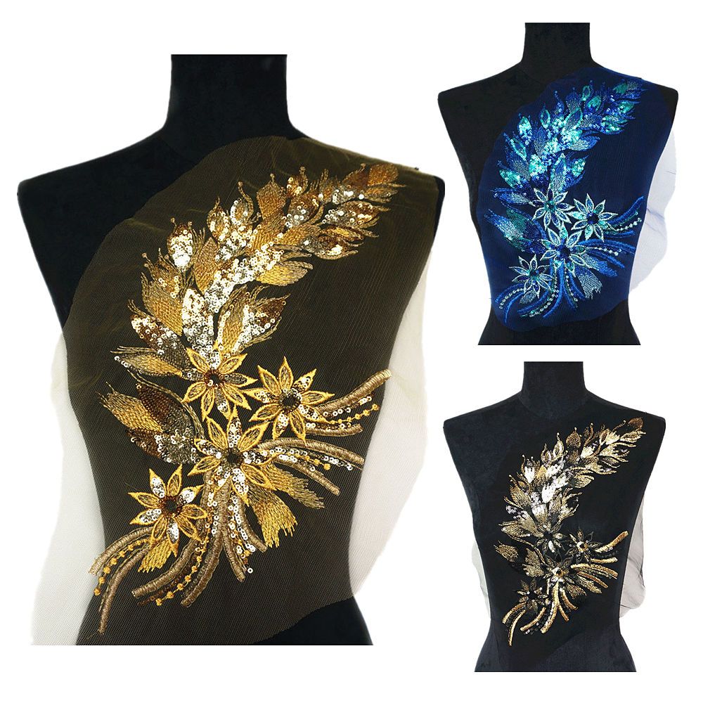 DIY 40CM Gold Blue Red Sequins Feather Tail Flowers Lace Trims Mesh Patch Embroidery For Wedding Sew On Appliques Decoration