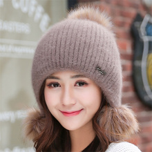 Brand New Rabbit Fur Hats Women Winter Knit 3 Hair Ball Warm Beanies Hat Female Fashion Outdoor Velvet Thick Wool Bonnet Caps