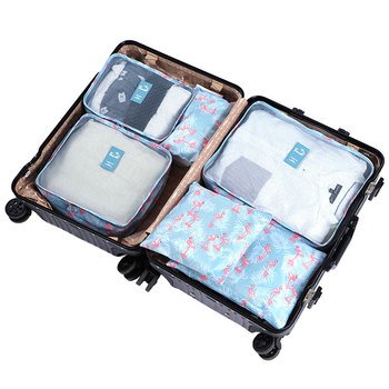 6 pcs/set Packing Cubes Travel Luggage Organizer Durable Polyester Travel Bag Organizer Hand Luggage Waterproof Packing Bags
