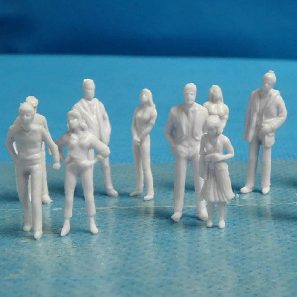 100Pcs 1/25 To 1/200 Scale Mini Unpainted White Model People Figures DIY Toy Mixed Miniature White Model Figures Architectural M
