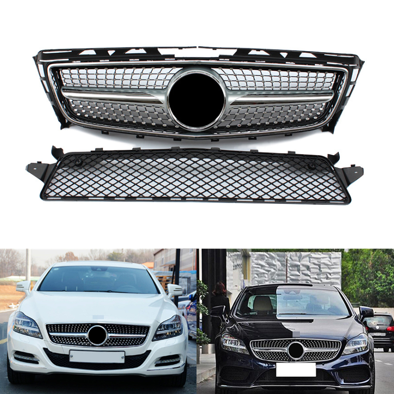 ABS Replacement Mesh Car Accessories Front Bumper Racing <font><b>Grills</b></font> for Mercedes Benz CLS Class <font><b>W218</b></font> Car <font><b>Grill</b></font> Mesh without Emblem image