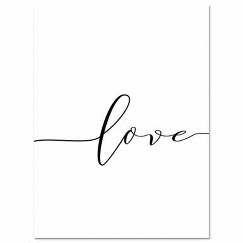 Nordic Back Black and  White Style Sweet Love Wall Art Canvas Poster Minimalist Print Painting Picture for Living Room Decor