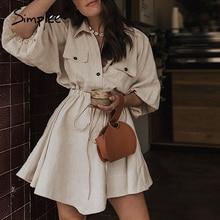 Simplee vestido elegante de linho, vestido camisa curto, feminino, de manga longa, de algodão, com botões, vintage, para o verão