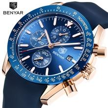 Benyar популярные часы мужские часы роскошные силиконовой лентой водонепроницаемый спортивные мода