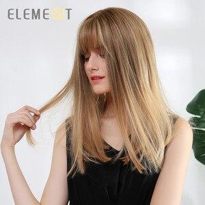 Image 2 - Element syntetyczne długie proste Ombre brązowy na złoty blond peruki z schludnym grzywką dla białych/czarnych kobiet
