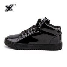 X Brand Retro Outdoor Fashion High Flats Shoes Casual Men Shine Footwear Black G