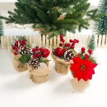 Simulation Christmas pine cone needle potted ornaments Artificial Tree Decorations Holiday Tabletop Ornament