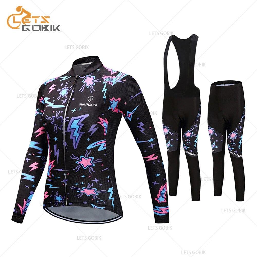 2019 kadın uzun kollu bisiklet kıyafetleri nefes bisiklet bisiklet forması önlük pantolon spor seti Ropa Maillot Ciclismo bisiklet üniforma - title=