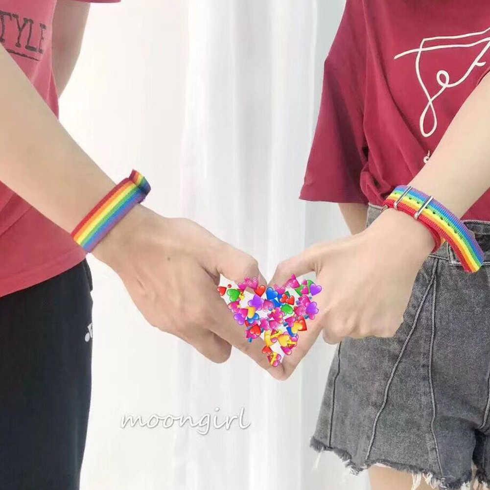 ナイロン虹レズビアンゲイbisexualsトランスジェンダー女性の女の子のプライド織編組男性カップル友情ジュエリー