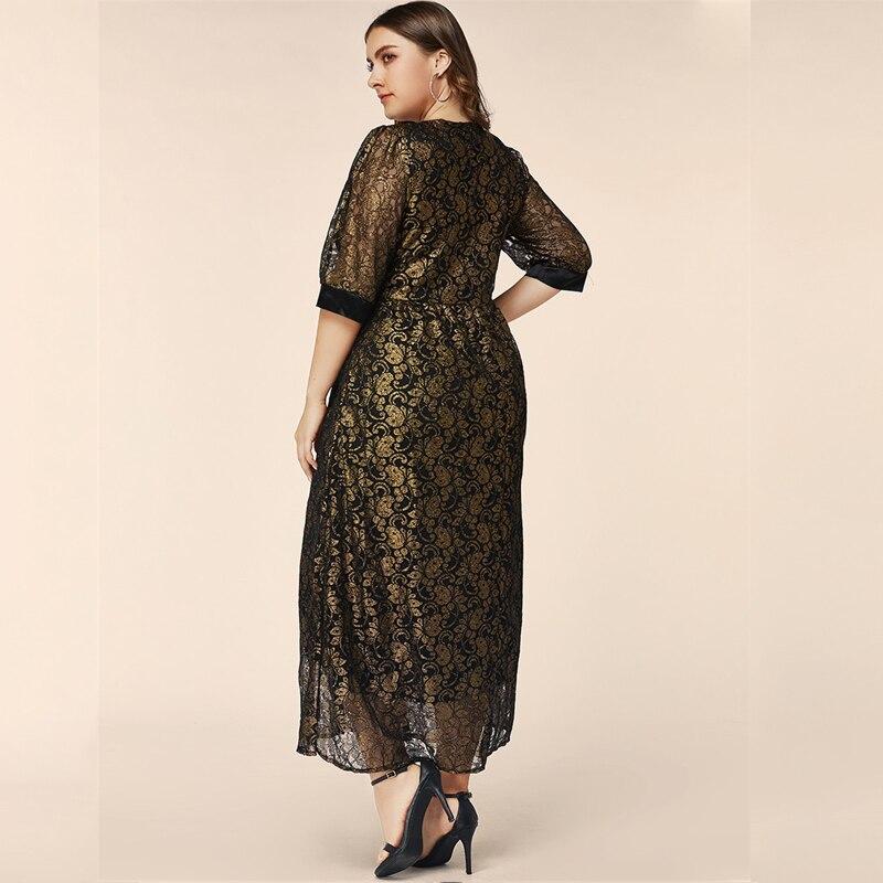 5XL 6XL мусульманское Макси платье плюс размер женское цветочное длинное платье черно-белое ТРАПЕЦИЕВИДНОЕ вечернее кружевное платье большог...