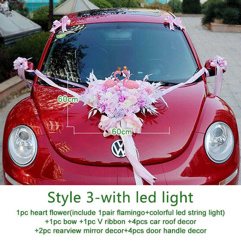 Wedding Artificial Flowers with Flamingo Led Light Car Decoration DIY Silk Flower Valentine's Day Set Wedding Wreath Party Decor