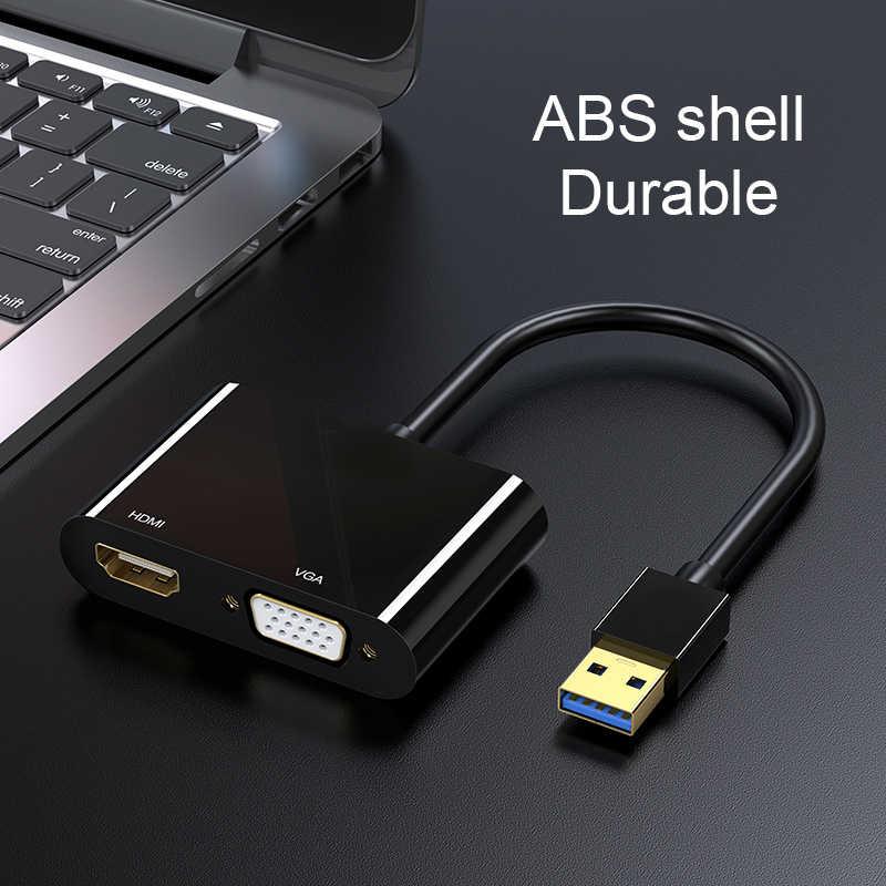 1080P USB 3.0 إلى HDMI مهايئ VGA الفيديو الصوت ذكر إلى Famale محول محول للكمبيوتر لوحي محمول USB محول الصوت موصل