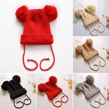 Детская зимняя шапка с помпоном, детская шапочка, вязаная теплая шляпка для девочки, детская шапка для маленьких девочек, капот, Muts Casquette Enfant