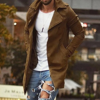 MJARTORIA New Khaki Trench Male Classic Autumn Winter Long Trench Coat Men Casual Loose Long Coat Jacket Men Overcoat Streetwear