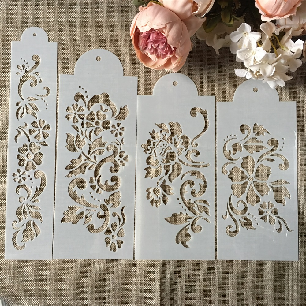 Hot 4Pcs/Set 27.5cm Flower DIY Layering Stencils Wall Painting Scrapbook Coloring Embossing Album Decorative Card Template