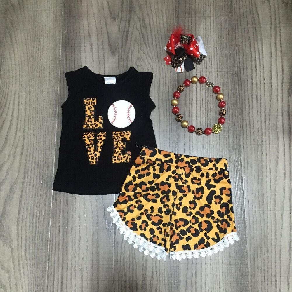 Baby Girls Ball Outfits Girl Love Baseball Black Shirt Leopard Shorts Baby Children Summer Clothing With Accessories