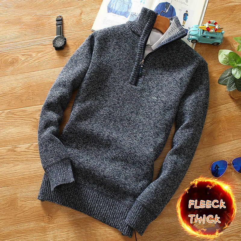 겨울 남성 양털 두꺼운 스웨터 반 지퍼 터틀넥 따뜻한 풀오버 남성 남성 슬림 니트 양모 스웨터 봄