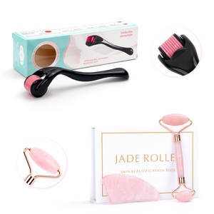 Micro Needle Roller Jade Roller Scraping Board Set Facial Slimming Massager Face-lifting Natural Stone Skin Care Set for gift