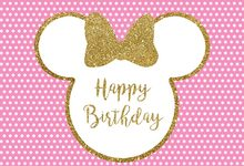 7x5FT Happy Birthday Party Gold Sequins Bow Pink Mickey Minnie Mouse Spots Custom Photo Backdrop Background Vinyl 220cm X 150cm(China)